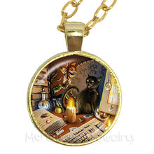 Прекрасный кот Ожерелье Стеклянный купольный кабошон животное ручной работы кулон креативный подарок ювелирные изделия для женщин мужчин ...(Китай)
