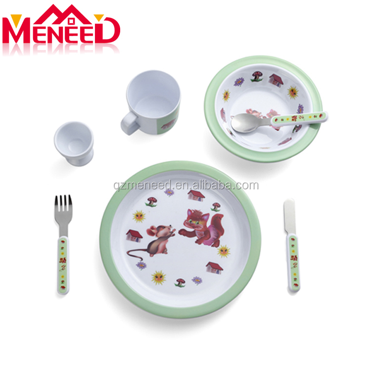 Unbreakable food contact safe 7pcs kids melamine dinnerware