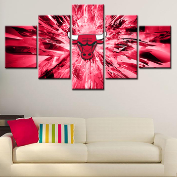 Bulls Wall Decoration Abstract Canvas Oil Painting Living Room Basketball  Fans Modern Home Decor Printed Picture