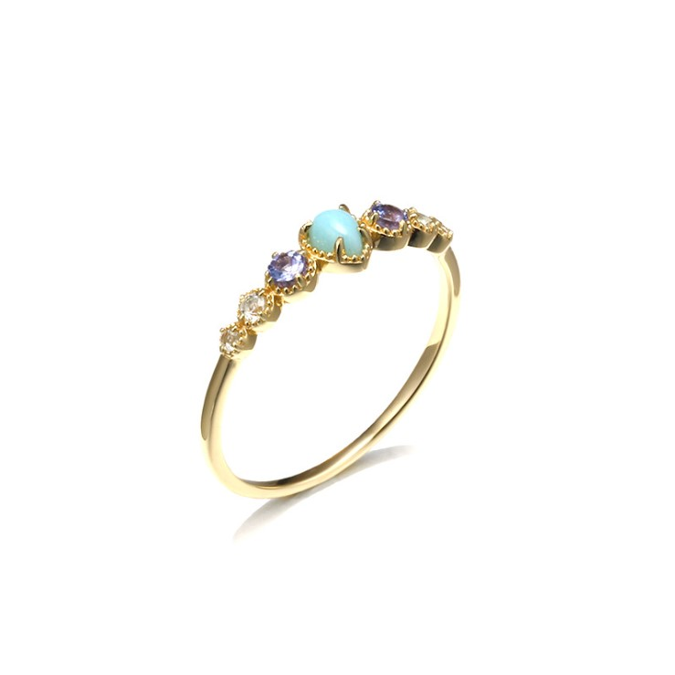 Women Simple Fashion 925 Silver Natural Gemstone Tanzanite Gold Band Ring in Everyday Style