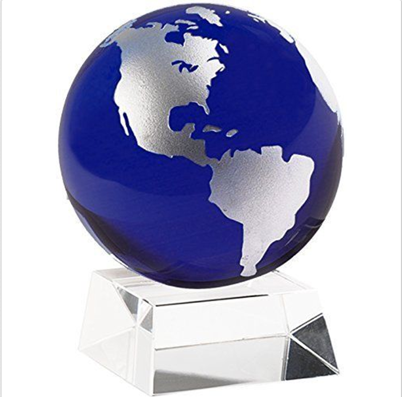 Amlong Crystal 3 Inch Blue Globe with 2 Inch Crystal Stand