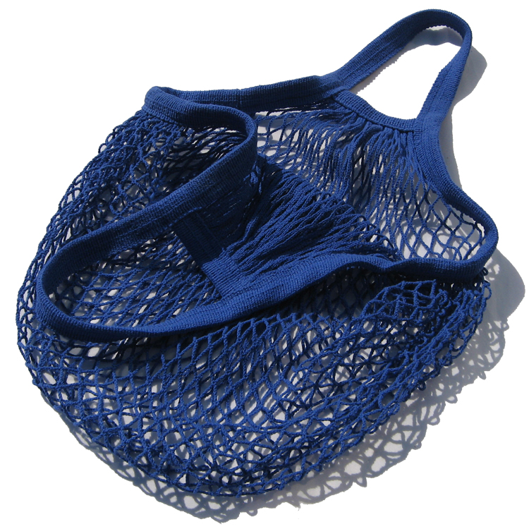 <strong>Eco</strong> Blue Handled Tote Cotton Net Mesh Grocery Bags For Storage of Fruit Vegetable