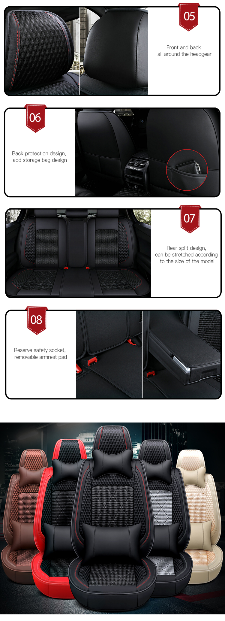 Wholesale Five Seats Vehicle Universal Leather Car Seat Cushion Cover