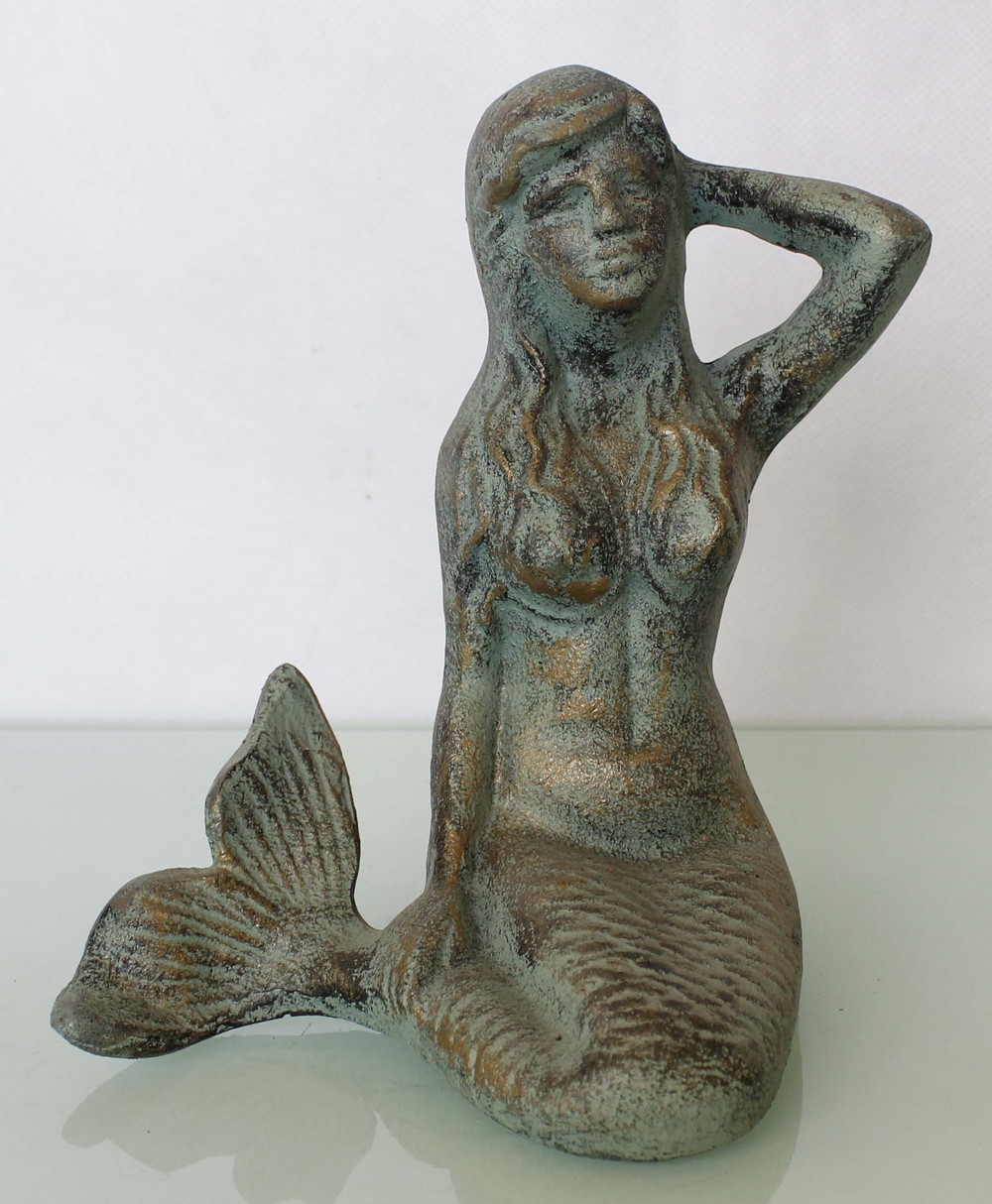 Cast Iron Mermaid Sculpture For Home Decoration
