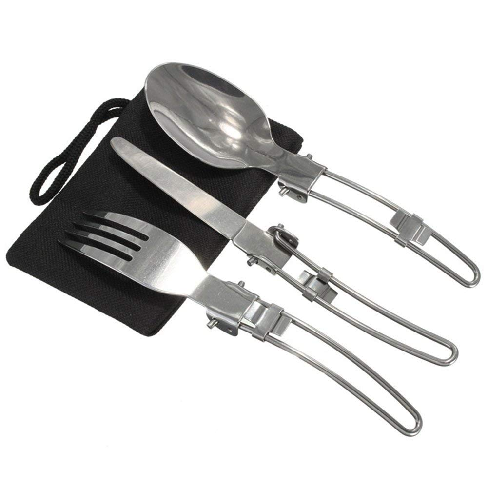 3 Pcs Portable Outdoor Camping Travel Picnic Foldable Stainless Steel Cutlery Spoon Fork Knife Tableware Camping Picnic Utensil Travel Cutlery Set with A Nylon Pouch