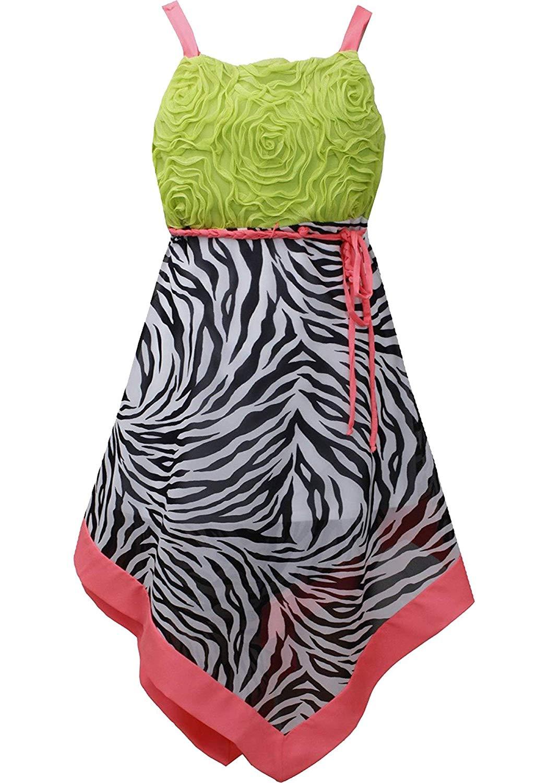 af5d75733d Get Quotations · Little Girls Black White Green Bonaz to Zebra Print  Chiffon Hanky Hem Dress