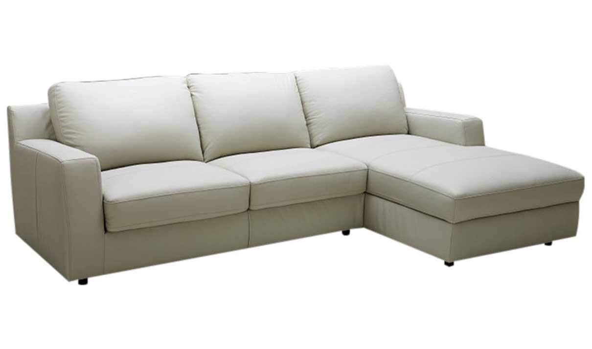J&M Furniture Lauren Leather Right Facing Sectional Sofa in Cream