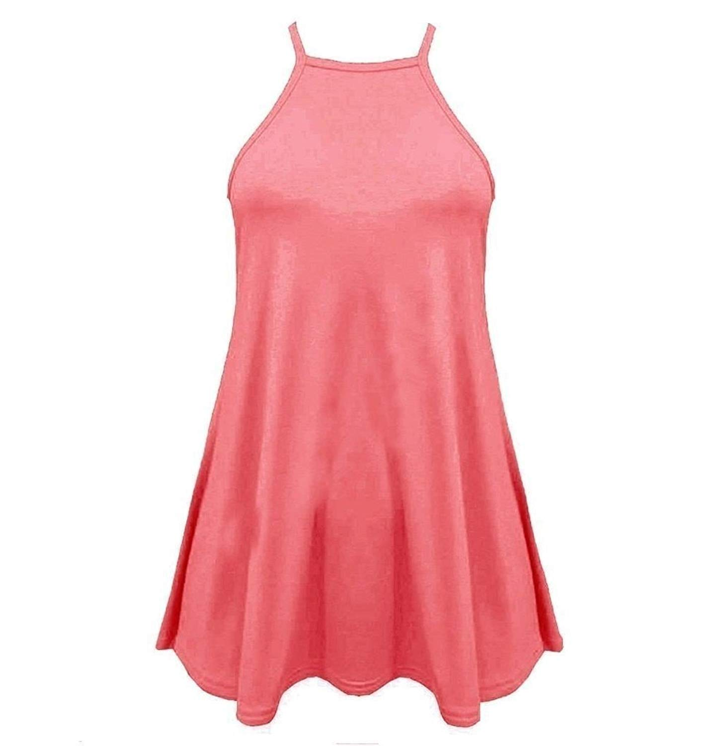 868cf085f1115f Get Quotations · Women High Neck Cami Sleeveless Swing Vest Ladies Skater  Top Plus Size