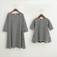 Family Striped Dress Clothing Matching Mom And Daughter Kid Clothes Striped Dresses Outfits UK