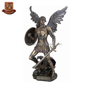 Awesome Good Quality Wholesale Price Holding A Sword Handsome Resin Male Angel  Figurines