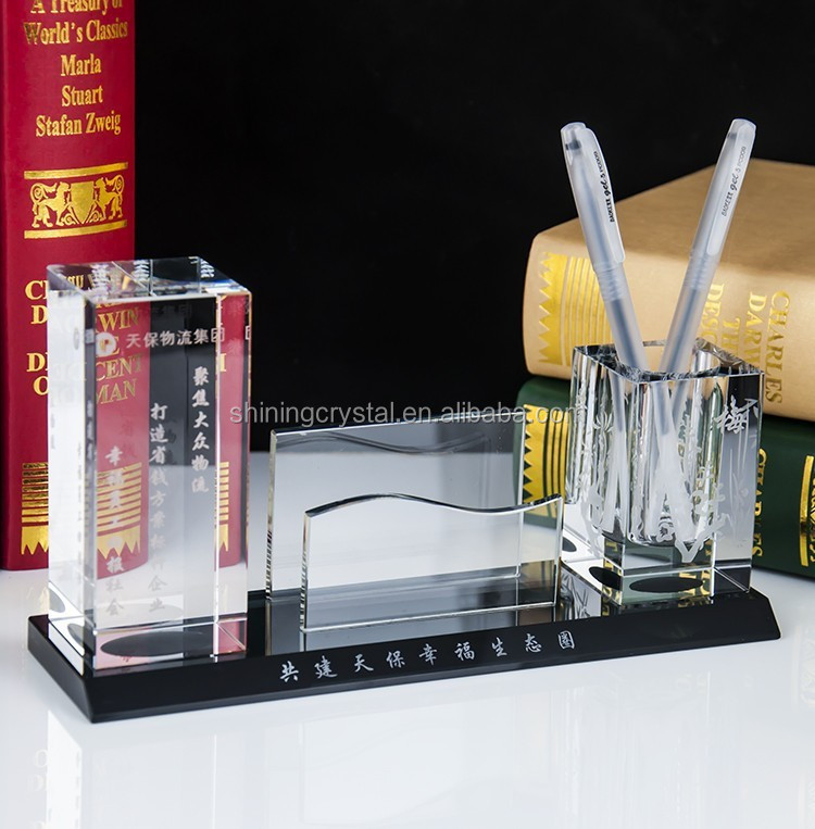 2016 new design crystal stationary with pen holder