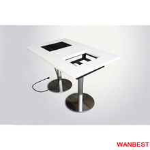 4 People White Rectangular Artificial Marble Restaurant Customized Hot Pot Table With Induction Cooker