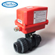 PVC material water flow control 12V 24V electric actuator ball valve