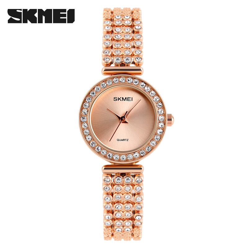 2017 skmei neue design luxus rose gold diamant quarzuhr frauen strass damenuhr