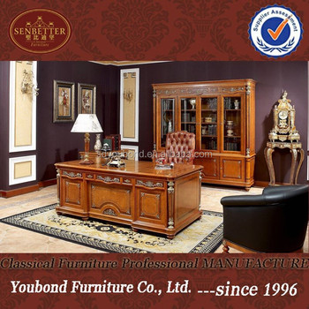 0029 Classic Royal Office Furniture, Luxury Office Desk, Wooden Office Table