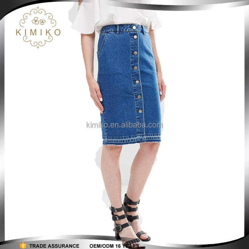 Ladies Fashion Design Blue Knee Length Denim Skirt With Pockets