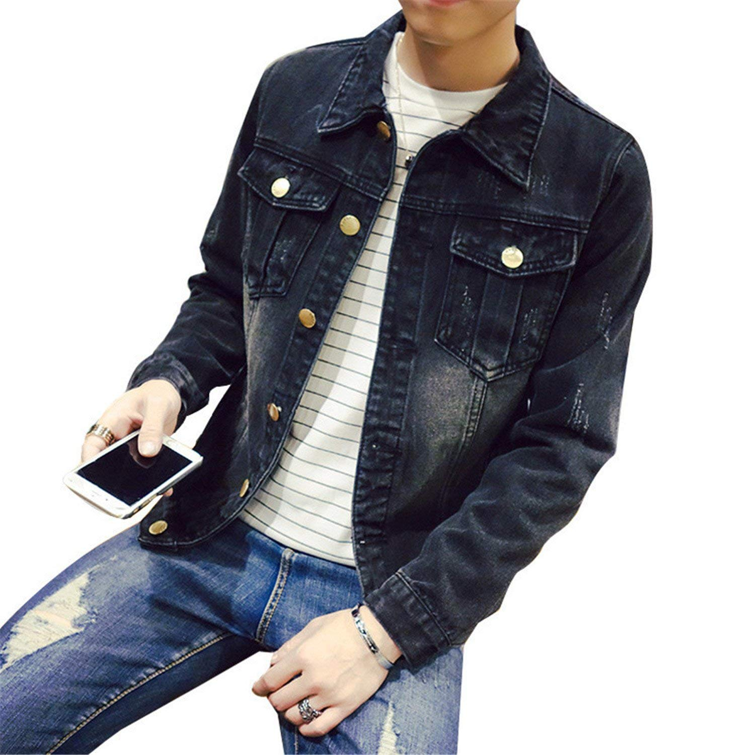 861e78f390b Get Quotations · Chiffoned Solid Casual Slim Mens Denim Jacket Plus Size S-4XL  5XL Jacket Men Cowboy