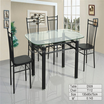 Glass Metal Dining Table Steel Frame Leg And Glass Top Table