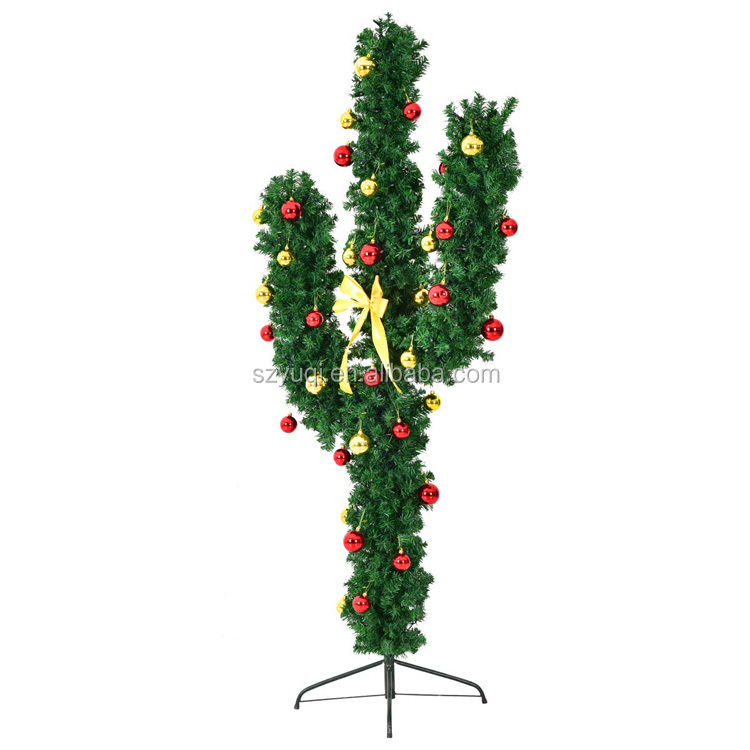Amazon Top Seller 2019 Pre-Lit Artificial Cactus Christmas Tree with LED Lights and Ball Ornaments