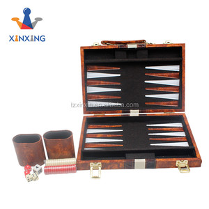 Luxury wooden & PU leather backgammon set playing board game set