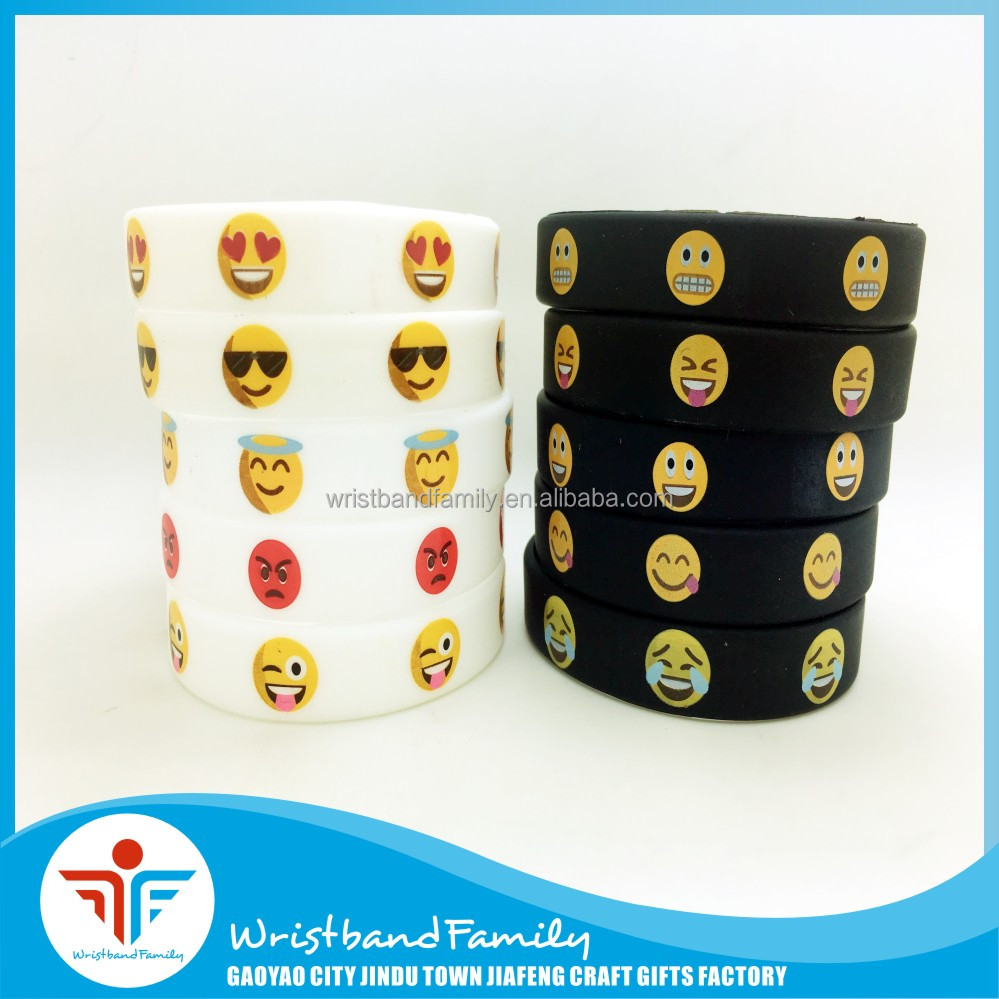 10 Different Moods Face Emoticon Designs Silicone Wristband