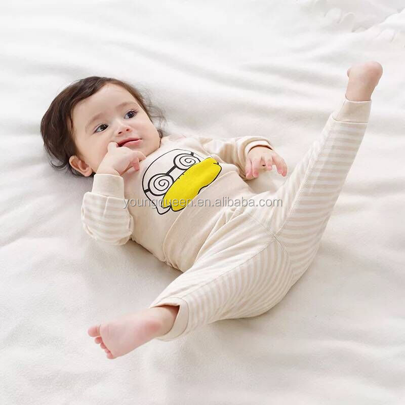 BBT04 hot autumn models natural color cotton double stalls high waist belly pants 0-2 years old baby clothes