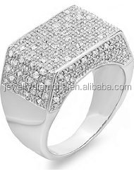 0.50 CT Platinum Plated Sterling Silver Fancy Design Round Diamond Men's Flashy Hip Hop Iced Pinky Rings
