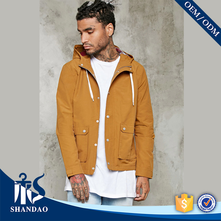 Guangzhou Men Autumn Fashion Outdoor Drawstring Hood Snap Button Flap Hem Pocket Wholesale Custom Long Sleeve New Puffa Jacket