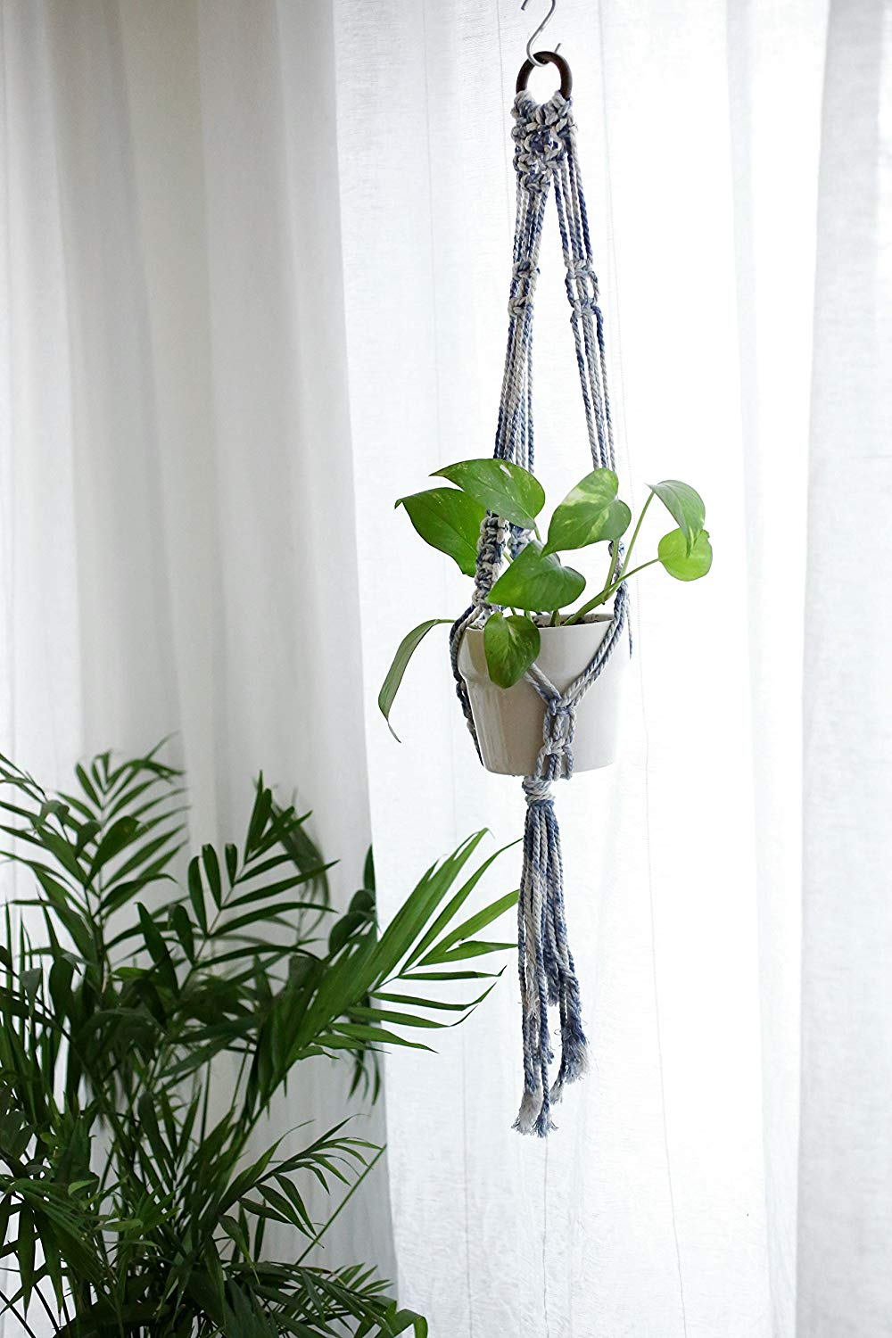 Get Quotations Blue Plant Hanger Macrame Special Hanging Planter Holder