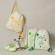 2018 Hot style custom natural printed organic promotion gift 100% canvas drawstring bag cotton backpack
