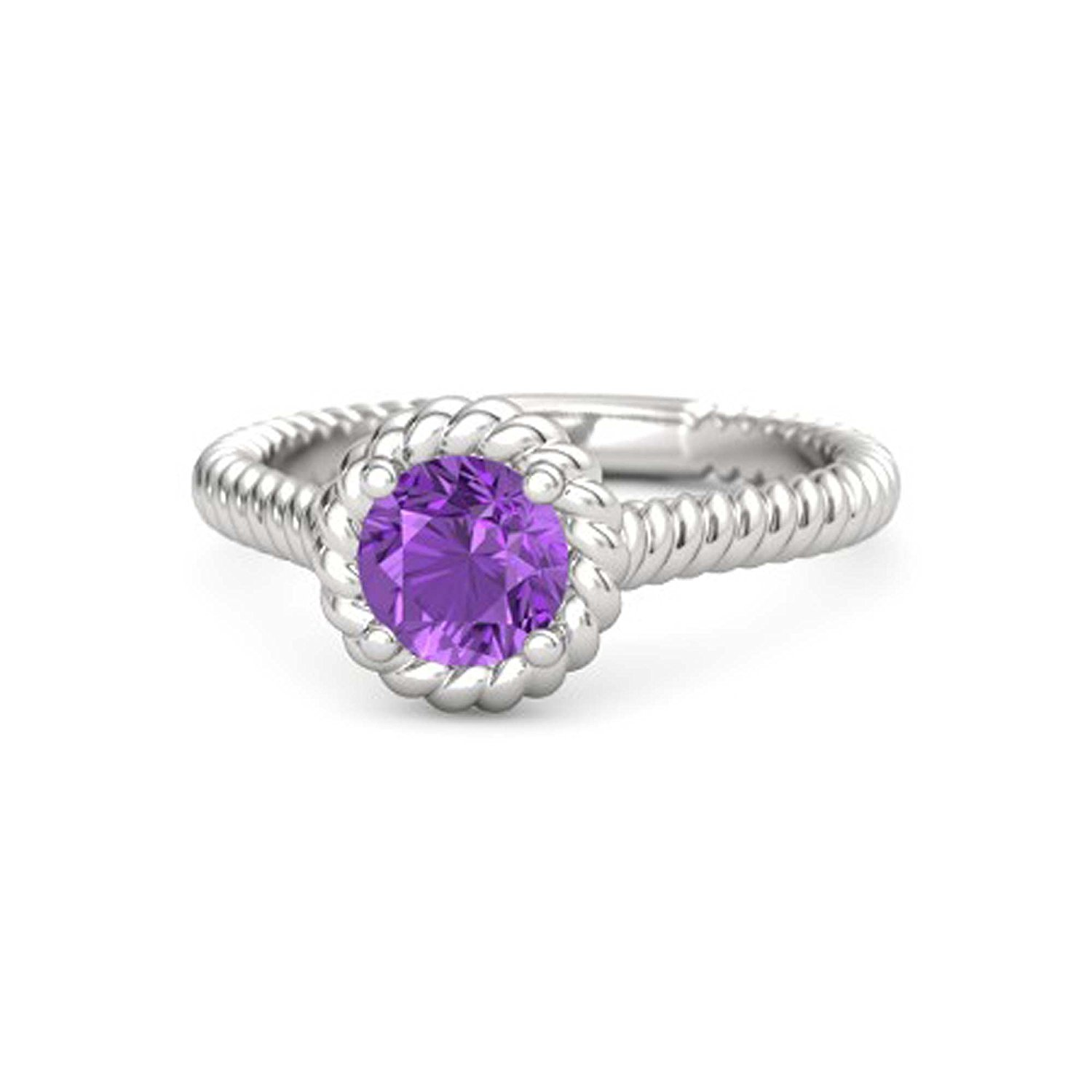 Womens Jewelry 14k Gold White/Yellow/Rose/ Plated Alloy 6MM Round Created Amethyst Twisted Twine Solitaire Engagement Ring