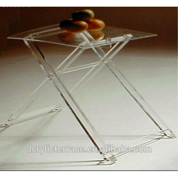 Clear Folding Tables Acrylic Hotel Serving Tray On Stand HA14030101047