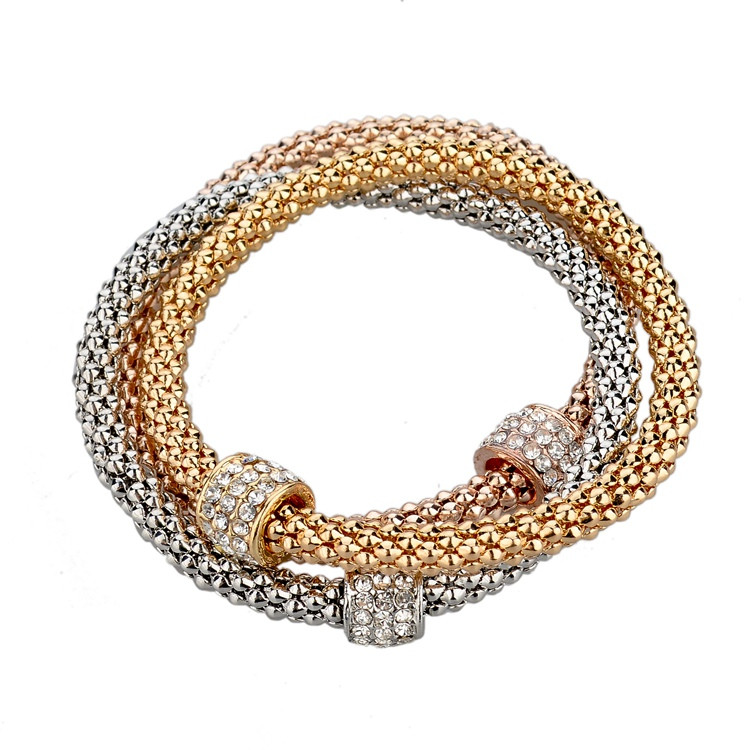 3 Layers Hollow Heart Charm Bracelet Snake Chain For Women