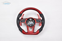 Red Carbon Fiber racing car steering wheel for Audi A4L with paddle shift