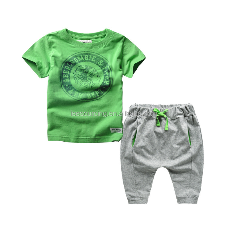 Wholesale children's fashion tee and pants beach wear 2pc kids set t shirt for summer