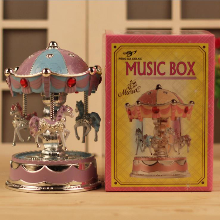Home Decoration Flash Carousel Music Box Night Light Electric Music Box
