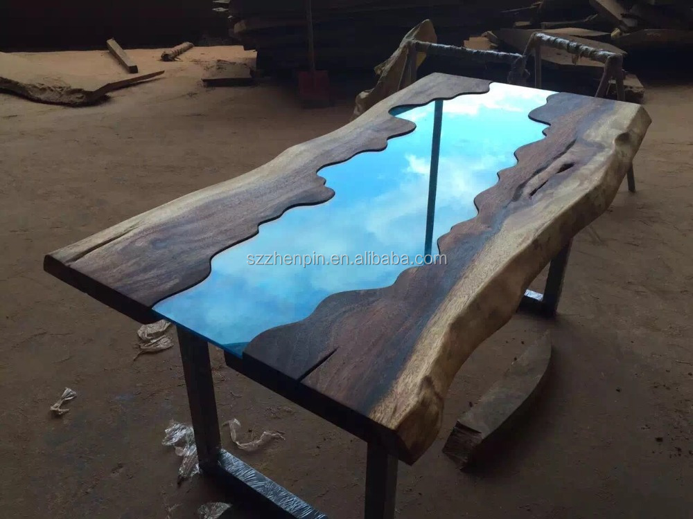 Live edge glass inlay solid wood slab dining table glass for Live edge slab lumber