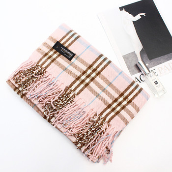 Pink color good quality winter thick cashmere long scarf for women
