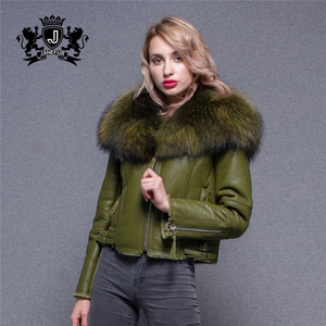 Super Large Raccoon Fur Collar Jacket Real Lamb Fur Lined Sheepskin Leather Coat for Women
