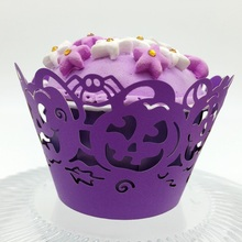 Purple pumpkin Wholesale Price Hollow Out Laser Cut pearl paper Wedding Cupcake wrapper/wraps for Halloween Cake Decorative