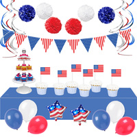 fourth of July banner pom pom flower latex balloon 4th of july party decorations