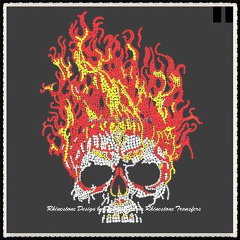 aprise flaming skull rhinestone transfer iron on halloween bling applique no tshirt
