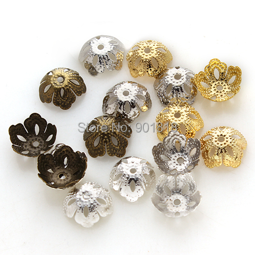 Gold Silver Bronze Rhodium Hollow Flower Filigree Metal Bead Caps Hat End Caps 500pc/lot 13.5*5mm DIY JewelryF2412