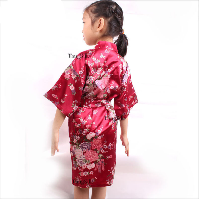 Sleepwear & Robes Robes 2-14y Girls Stain Silk Robes 6 Colors Bridesmaid Kimono Robes Children Solid Bathrobes Gowns With Belt Kids Nightdress Wholsale Carefully Selected Materials
