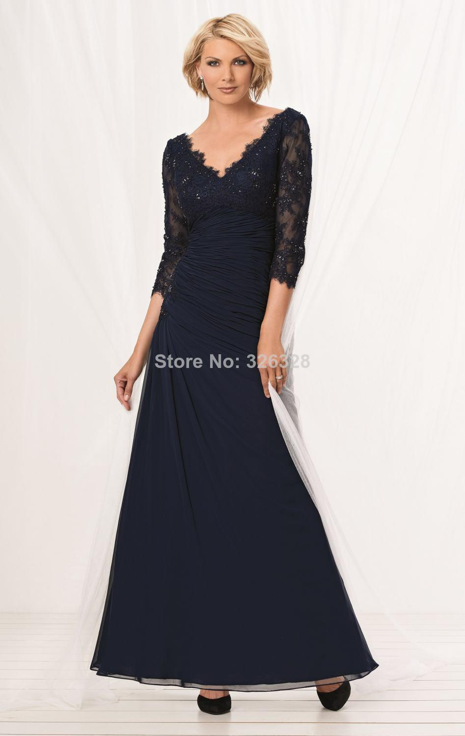 c8fd3282a39 Get Quotations · Lace Mother Of The Groom Tea Length A Line Beading Chiffon  Modest Navy Blue Mother Of