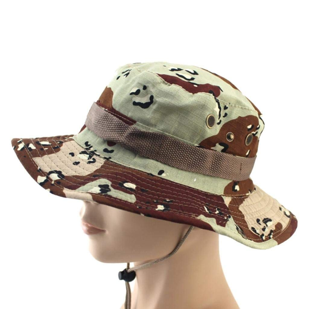 SUKEQ Boonie Hat, Unisex Sun Hat Wide Brim Military Camouflage Fishing Boonie Caps Hunting Bucket Hats Outdoor Sun Protection Hat