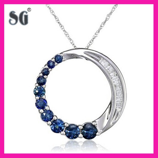 10K white gold sapphire journey circle pendant