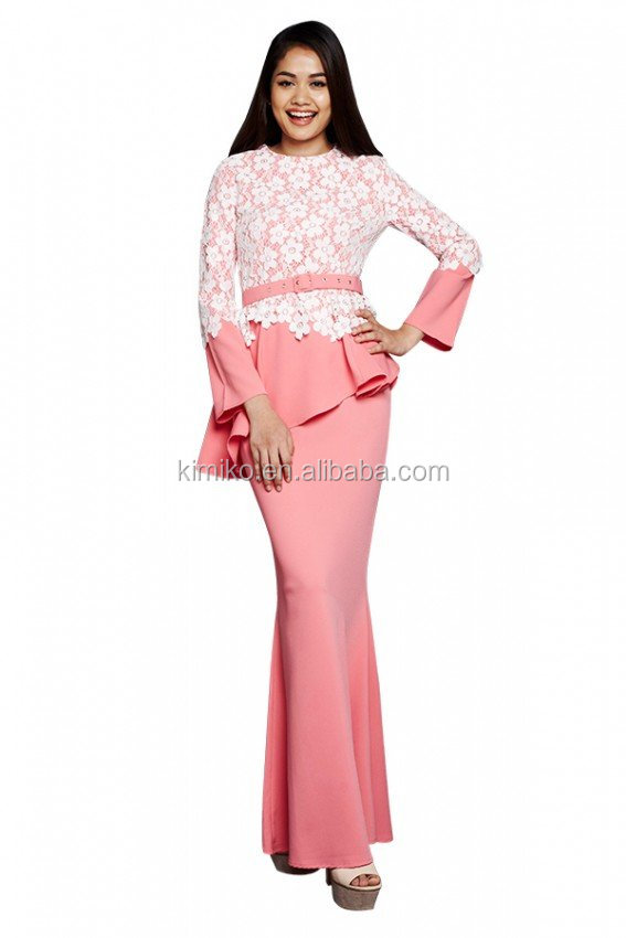 Newest Design Malaysia Lace Pink Baju Kurung Modern Kebaya