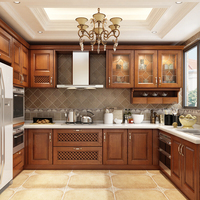 Custom Antique Royal Style Brown Plywood Kitchen Cabinet for Your Home
