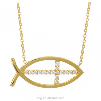 Gold tone cross jesus fish pendant necklace catholic church gold tone cross jesus fish pendant necklace catholic church christian of cross fish symbol necklace aloadofball Image collections